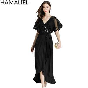 d37c8f8ac953 HAMALIEL Plus Size Women Long 2018 Summer Black Dress