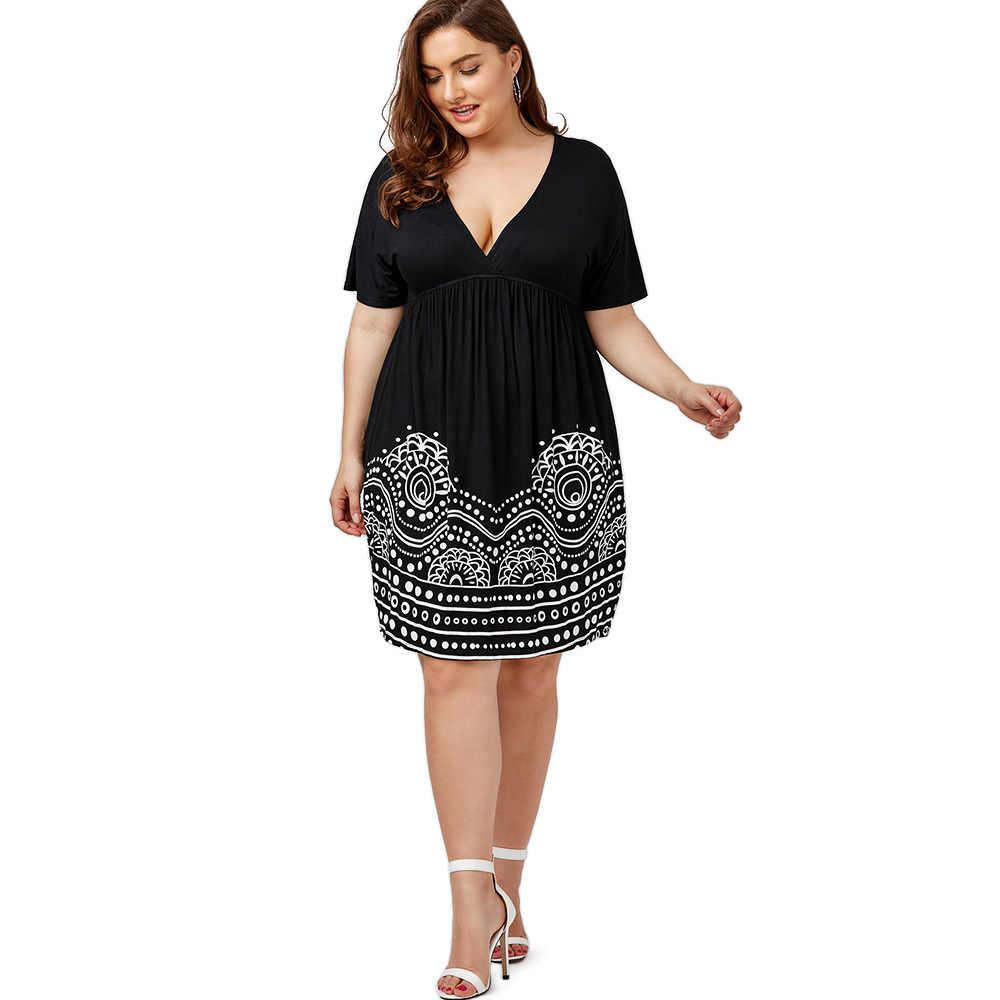 2ca7e79e826 ... Wipalo Plus Size 5XL Low Cut Empire Waist Plus Size A Line Dress Women  Summer Big ...