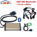 DHL бесплатно Золотой tcs cdp bluetooth 2013.3/2015.1 с oki chip (M6636B OKI Chip) 8 Автомобилей кабелей OBD2 автоматический сканер диагностический Инструмент