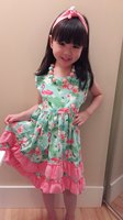 Baby Girls Clothes Kids Wear Summer Flamingo Mint Coral Ruffles Print Dress Cotton Mtaching Accessories Boutique
