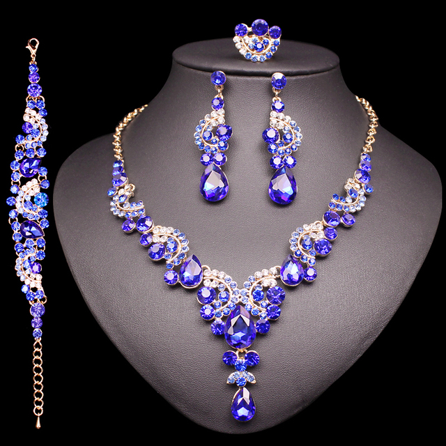 Indian Necklace Earrings Bracelet Ring Sets Crystal Jewelry Sets Wedding Party C