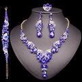 Moda indio novia pendientes collar conjunto de conjuntos de joyas de cristal de boda traje de las mujeres, joyería, Regalo para mamá