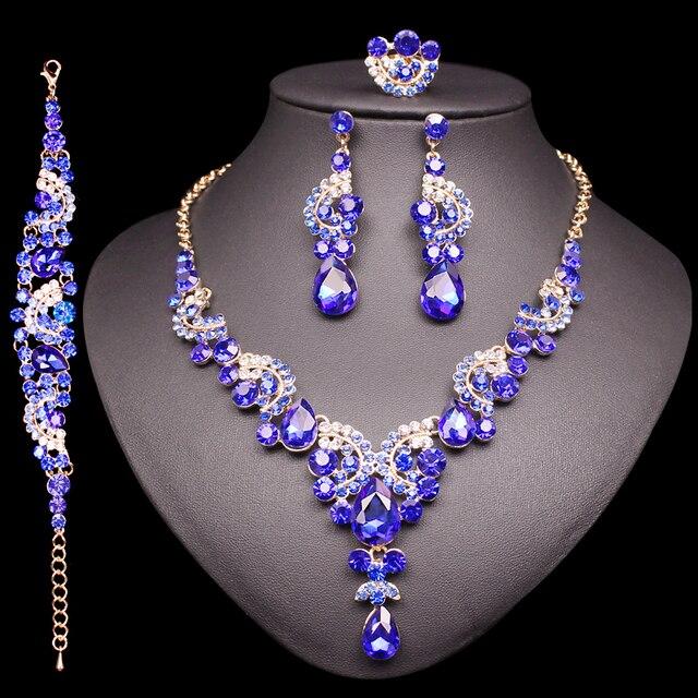 Mode Indische Braut Ohrringe Halskette Set Luxus Kristall Schmuck Sets Hochzeit Partei frauen Kostüm Schmuck Geschenke für Mama