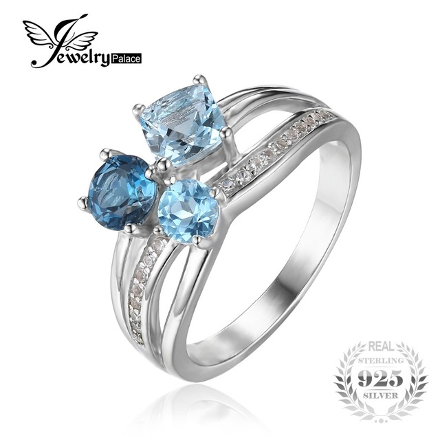 Jewelrypalace 1.7ct verdadeira multi london blue topaz 3 pedras anel genuíno 925 jóias de prata esterlina para mulheres belas presente do partido