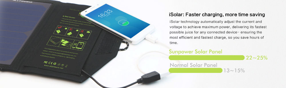 ALLPOWERS Solar Panel 10W 5V Solar Charger Portable Solar Battery Chargers Charging for Phone for Hiking  Camping Outdoors 8