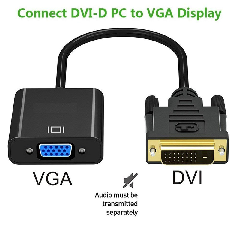 DVI to VGA Adapter DVI 24+1 Dual Link to VGA Male to Female 1080P Video Cable Converter for Gaming DVD Laptop HDTV Projector