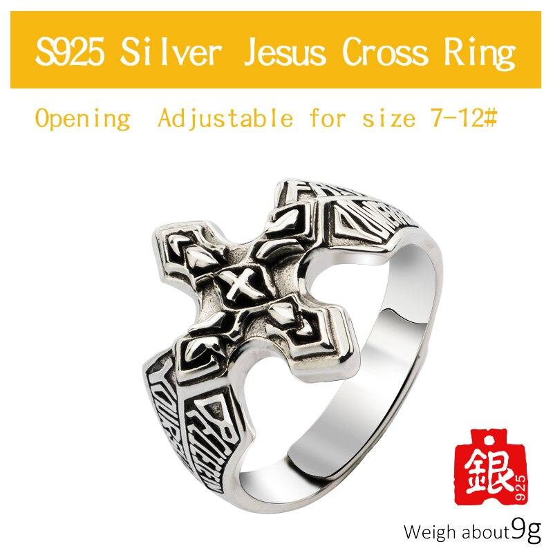 Bagues en argent croix pour homme bijoux de mode en argent Sterling Vintage - 4
