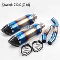 Kawasaki z1000 выхлопа мотоциклов средней трубы адаптер с Akrapovic лазерной логотип Выпускной Escape подходит для 07 09/2010 2017 год