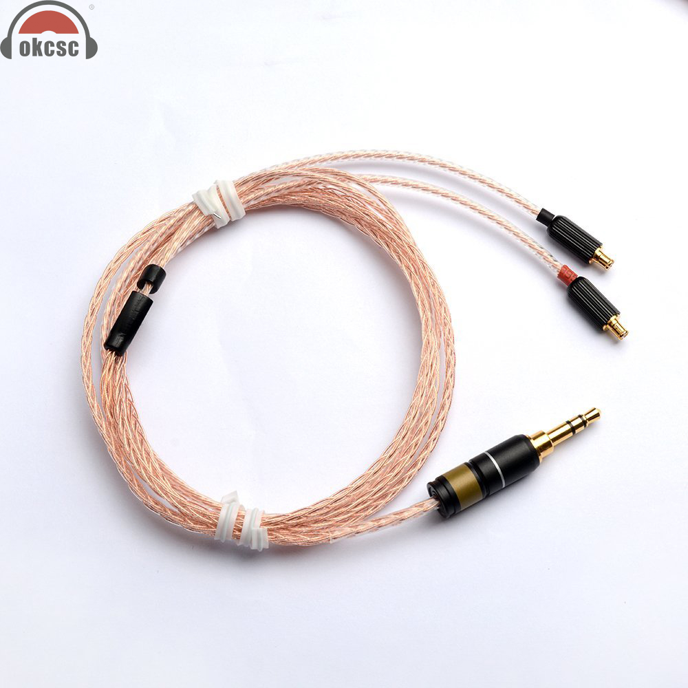 OKCSC A2DC Jack Cable 3.5mm Plug Upgrade Cable 8 Core Plated Copper For Audio-Technica  ATH-CKR100 / ATH-CKR90 / ATH-CKS1100