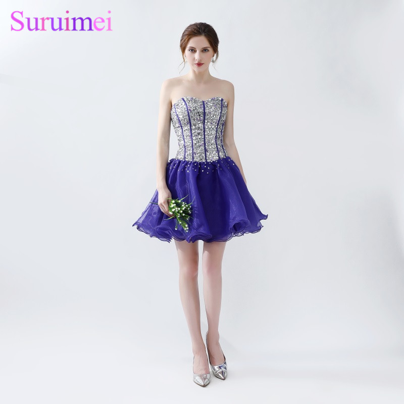 Purple Prom Dresses Short Mini Tulle Beaded Sweetheart Bodice Corset