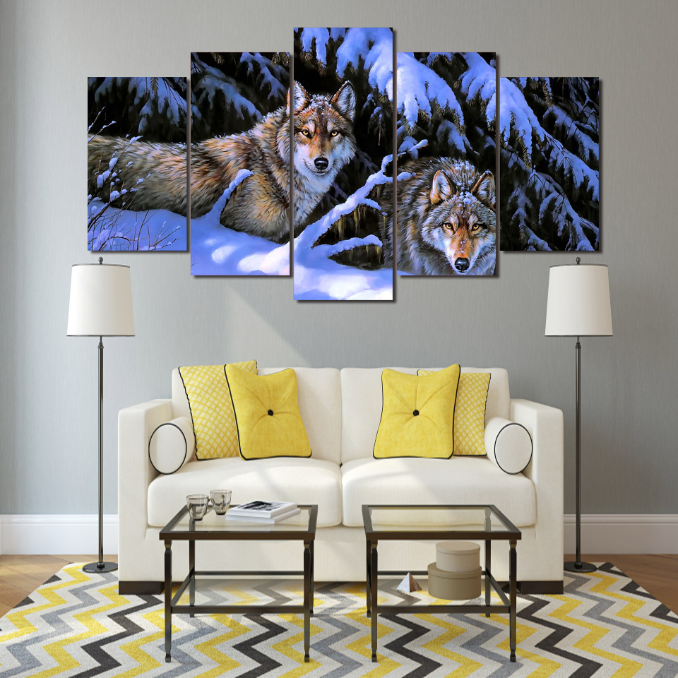 HD Printed Snow Mountain wolves Painting on canvas room decoration print poster picture canvas Free shipping/ny-2170