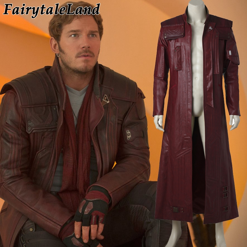 Guardians of the Galaxy 2 Star Lord Jacket Halloween costumes adult Peter Quill Star Lord cosplay costume long leather jacket