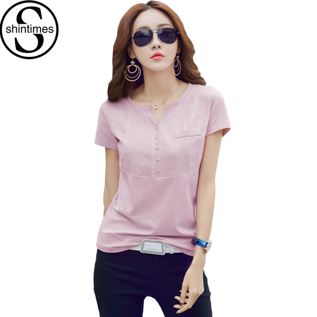 Casual Mujeres de la camiseta Verano 2017 Tops Con Cuello En V Manga Corta Camiseta corea pink t shirt plus size womens clothing camiseta femme