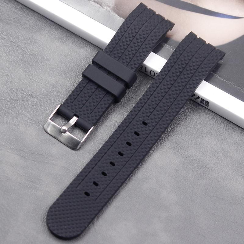 Watch Accessories 22 Mm Silicone Curved Strap Pin Buckle Men And Women Waterproof Sports Natural Rubber Strap Accessories