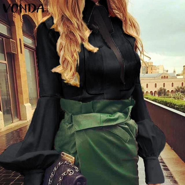 VONDA Ladies Office Shirt 2019 Autumn Blouse Women Sexy Lantern Sleeve Turn-down Collar Shirt Casual Tops Plus Size Blusas S-5XL 2