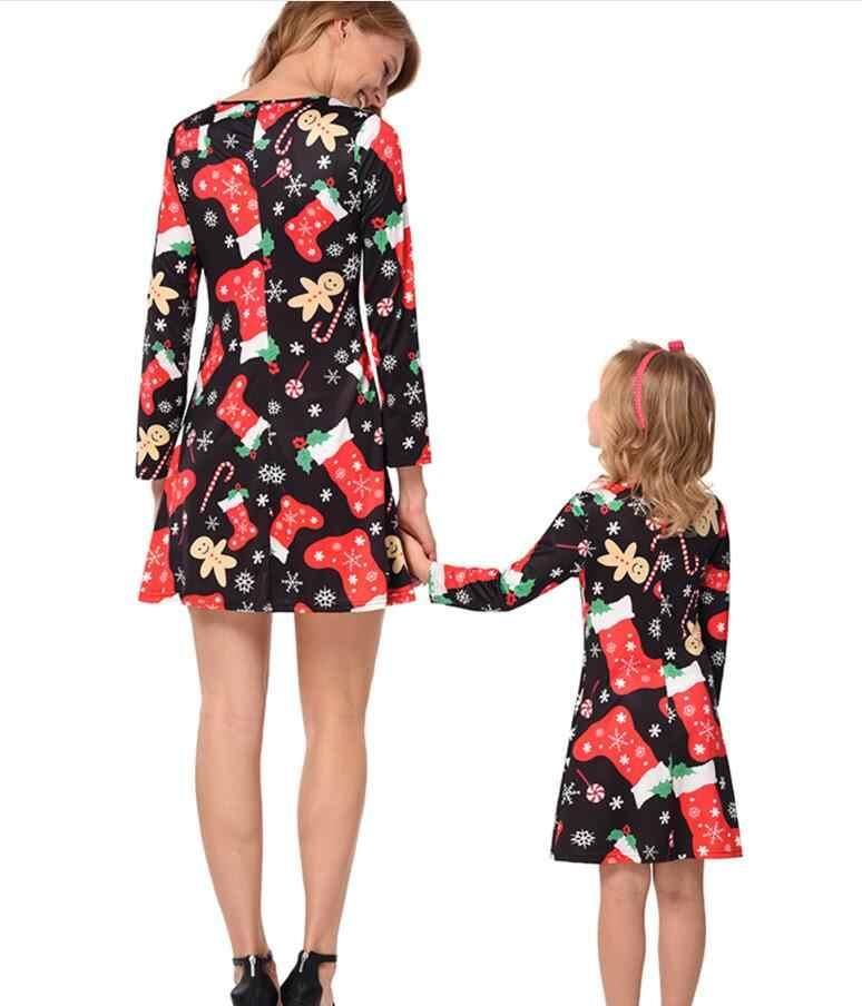 Ibu Putri Gaun Natal Mommy dan Saya Pakaian Pakaian Lengan Panjang Santa Claus Keluarga Lihat Ibu dan Putri Gaun