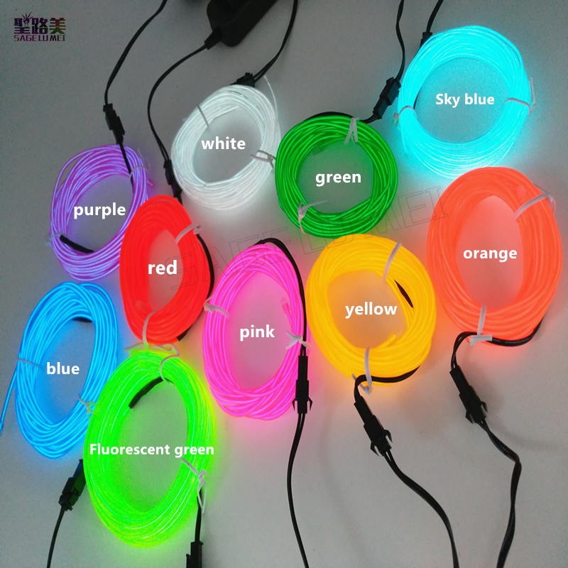 2m 3m 5m 3V AA controller Flexible Neon Light Glow EL Wire Rope Tube tape waterproof 2m/3m/5m 3V AA controller Flexible Neon Light Glow EL Wire Rope Tube tape waterproof LED Neon Lights Shoes Clothing Car Decor