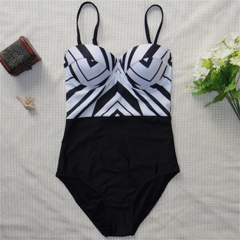 2017 New Style  one piece swimwear monokini black white printed stripped Push Up Sexy Hot Women Swimsuit Bathing Suit D06 inc new black white women s small s printed ribbed knit cropped blouse $69 054
