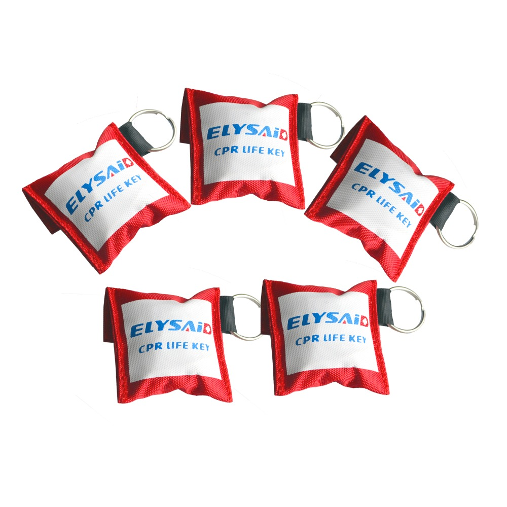 Elysaid 100Pcs/Lot CPR Resuscitator Mask CRP Face Shield With Keychain Key Ring One-Way Valve With Gloves Emergency Rescue Kit