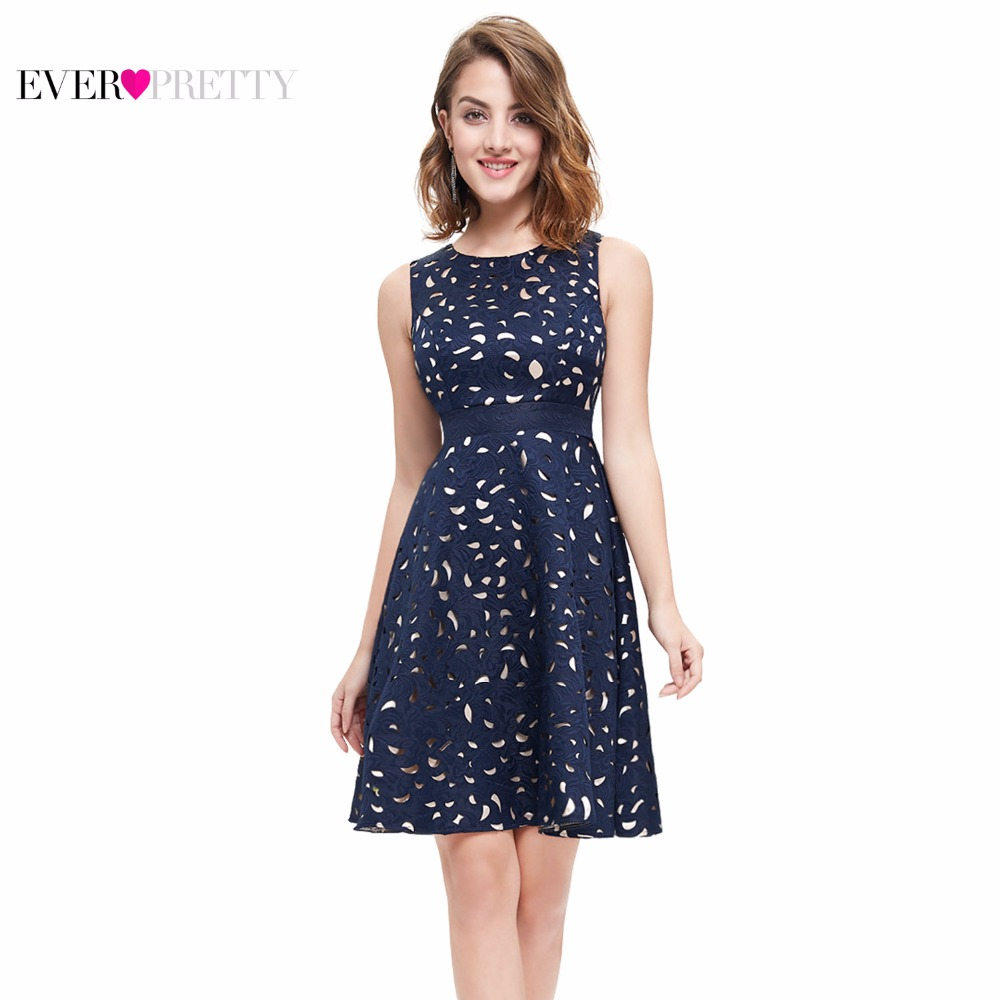 Autumn Women Cocktail Party Dress 2018 Ever Pretty EP05432NB Elegant A-Line Mini Navy Blue Lady Cocktail Dresses Short  Dresses
