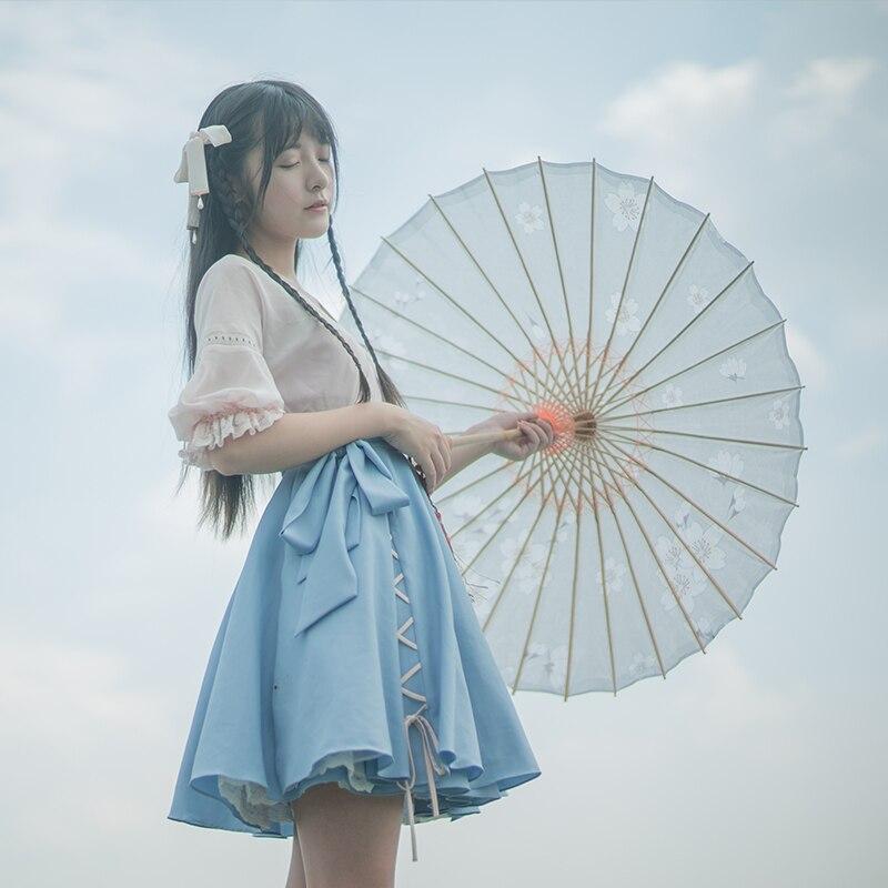 """""""دريزل"""" النمط الصيني موري فتاة 2 قطع مجموعة Hanfu اللباس الوردي الأزرق الصليب التعادل الشيفون اللباس & الحمالة سترة أنيقة-في فساتين من ملابس نسائية على  مجموعة 1"""