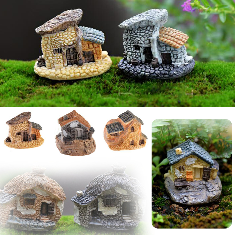 Mini Shingle House Fairy Cottage Home Figurines Garden Craft Decor Gift Resin image