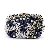 2018 Designer Women Evening Bag Luxury Pearl Beaded Ladies Party Handbag Clutch Wedding Bridal Women Evening Bag with Chain Evening Bags