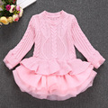 2017 Spring Thick Warm Girl Dress Wedding Party Dresses Knitted Chiffon Winter Kids Girls Clothes Children CLothing Girl Dress