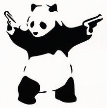 Panda With Guns Sticker Decal Car Bumper Bansky Windows Art Vinyl Truck (5.5 inches (Black)