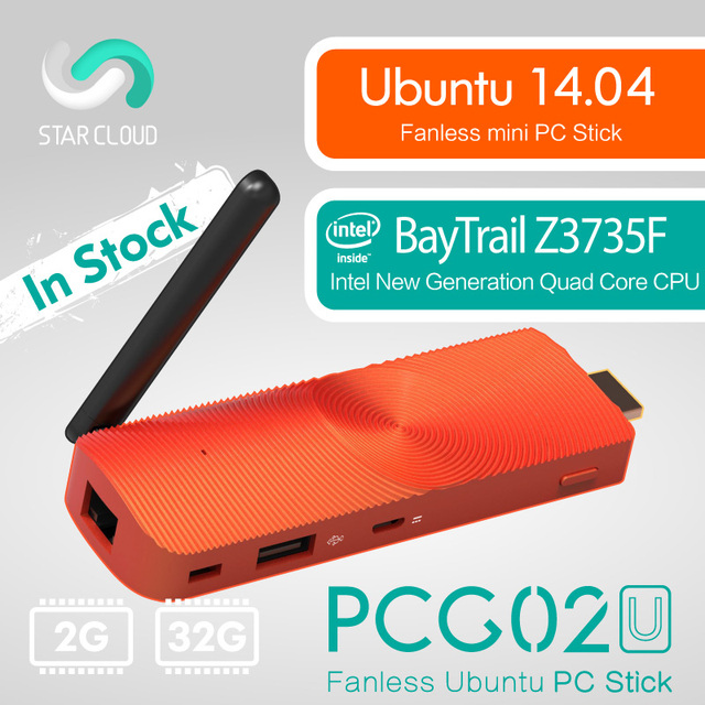 Fanless Ubuntu 14.04 Mini PC Bâton Étoile Couverture PCG02U Intel BayTrail Z3735F 2 gb DDR3 32 gb mem HDMI LAN wiFi