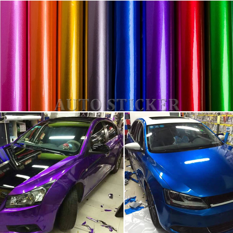 1.52*5/10/15/20M Gloss Blue Red Gray Metallic Vinyl Wrap Car Wrap With Air Bubble Free Candy Midnight Gloss Vinyl Wrap Film