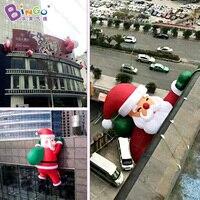 2017 Hot Sale Climbing Santa Climbing Rope Santa Santa Claus Hanging Decoration With Christmas Gift Bags
