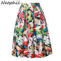 Neophil Sexy Audrey Hepburn Fantasy Flower Floral Print High Waist Ladies Midi Skirts 2016 Summer Fashion Holiday Saias S08005