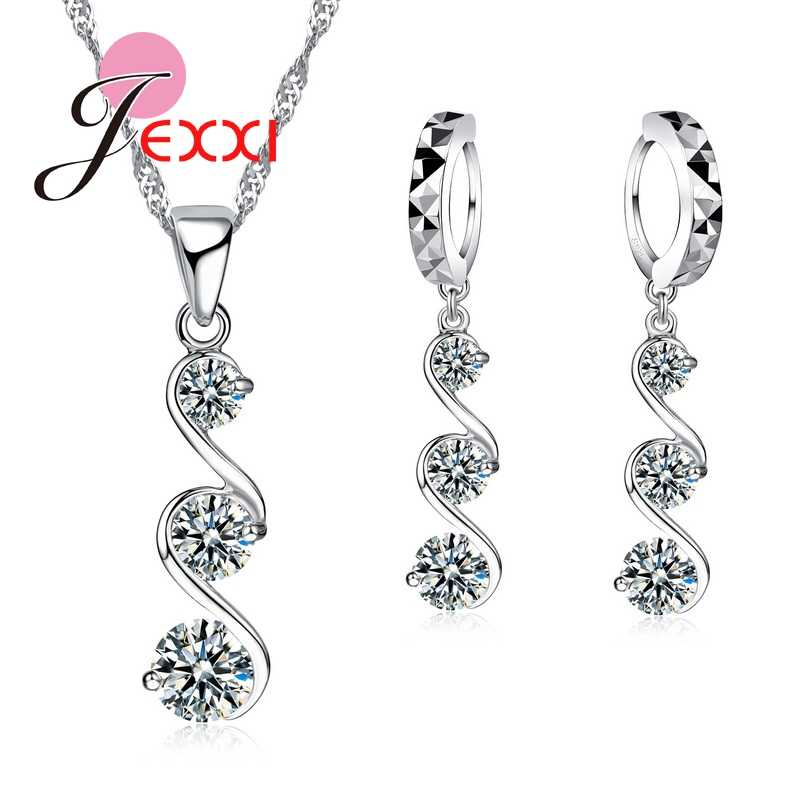 Charms Cubic Zirconia CZ Crystal  Long Tassel Drop Necklace Earrings Brinocs 925 Sterling Silver Anniversary Wedding Gift