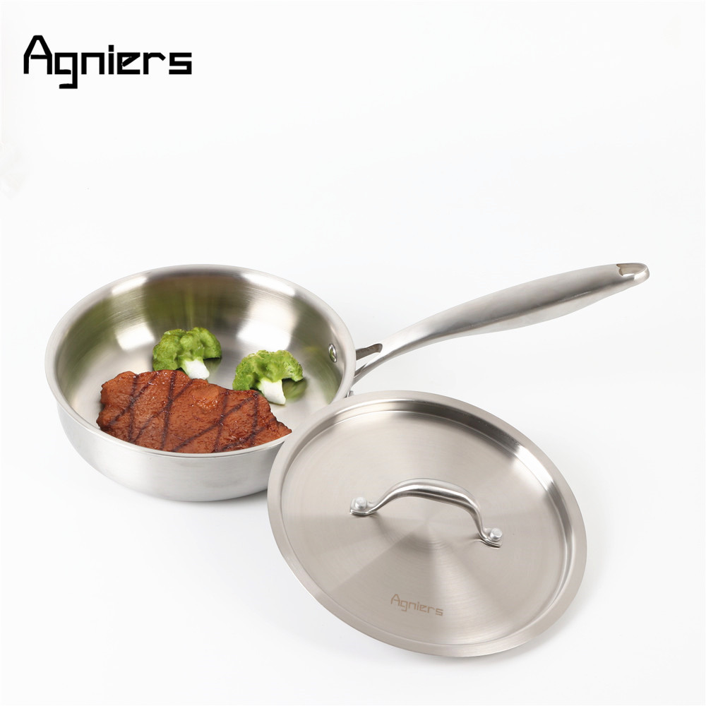 Agniers 20cm Multi-Ply Clad Stainless-Steel 8-Inch Covered Deep Saute Pan with Lid