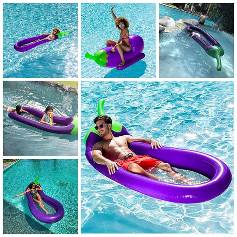 Inflatable Mattress Eggplant Air Mattress for Swimming Pool Water Toys Floating Beach Mattress Water Sports