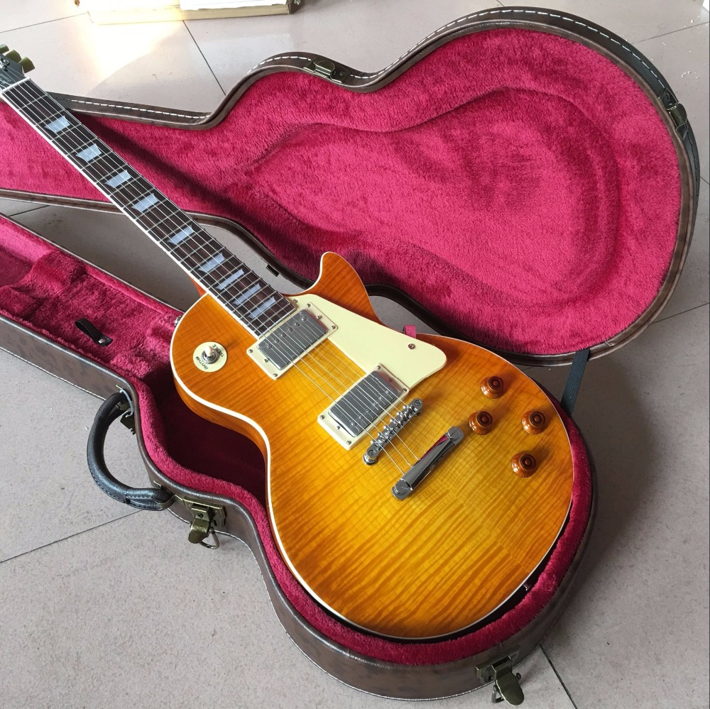Vicers  in Stock 1959 R9 honey Burst  Chinese l LP Style Standard Electric Guitar in stock 1959 r9 honey burst les chinese paul lp style standard electric guitar with ems free shipping