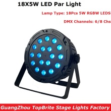 Light Music LED Par 18X5W Dj RGBW Flat Wash Disco DMX Stage Lighting Effect Wedding Party Lights