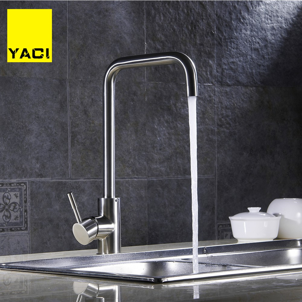 YACI Brass Kitchen Faucet Single Handle Single Hole Mixers Sink Tap Faucet Hot And Cold Water Ceramic Valve Core Faucet