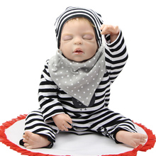NPK Reborn Babies Full Silicone Vinyl Sleeping Newborn Baby Dolls 22Inch/55cm Christmas Birthday Gift