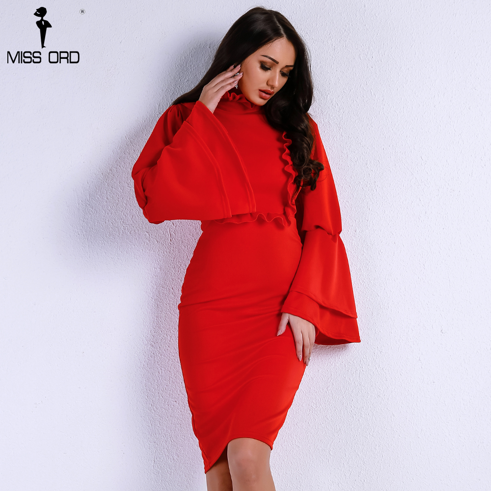 Missord 2018 Sexy Fashionable Fungus Side Speaker Sleeve Dresses Female Elegant Red/Black Color High Neck Bodycon Dress FT9167
