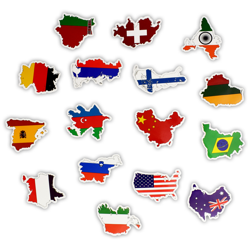 Image 3 - 50 Pcs National Flags Stickers Mixed Vinyl Countries Map Travel Sticker Motor Suitcase Deco Mixed For MacBook 11 12 13 15 15.6-in Laptop Skins from Computer & Office