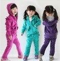 Venda novo 2016 crianças menina roupas de veludo meninas terno + calças 2 peças conjunto bebê criança do sexo feminino twinset sportswear