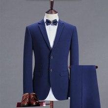 high-grade men suits blue single breasted bridegroom wedding suits tuxedos handsome men formal business suits(jacket+pants)