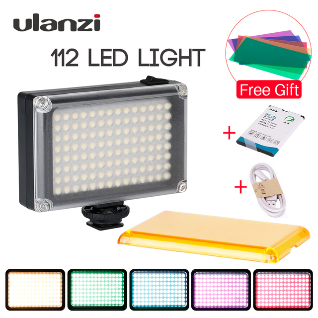 Ulanzi New 112 LED Dimmable Video Light Lamp Rechargable Panal Light +BP-4L Battery for DSLR Camera Videolight Wedding Recording