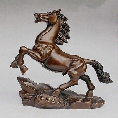 Laiton chine laiton cuivre richesse chanceux mouche galop course cheval à succès Art Statue jardin décoration 100% réel laiton laiton