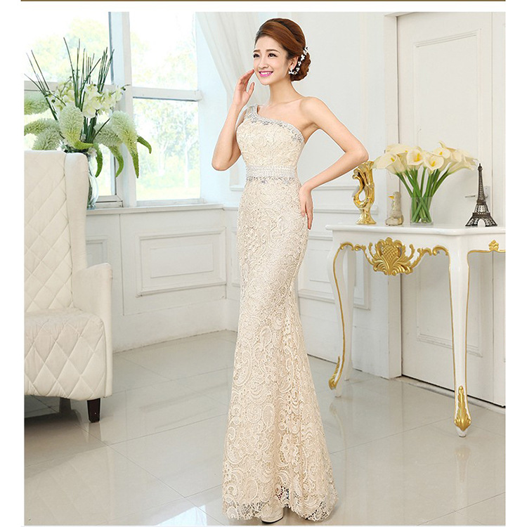 In Stock Lace Long   Bridesmaid     Dresses   Mermaid Women Formal Party   Dresses   One Shoulder   Dresses   with Beadess