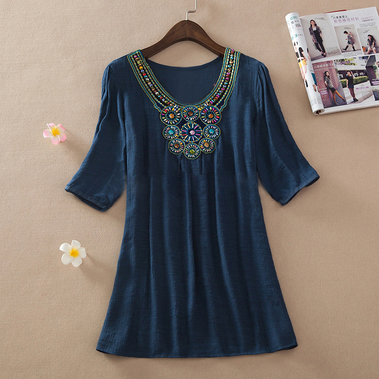 8cc0a99081a81b 2018 summer style Women short sleeve embroidered beading cotton plus size  mexican clothes peasant blouse blusas loose Top L 3XL-in Blouses & Shirts  from ...