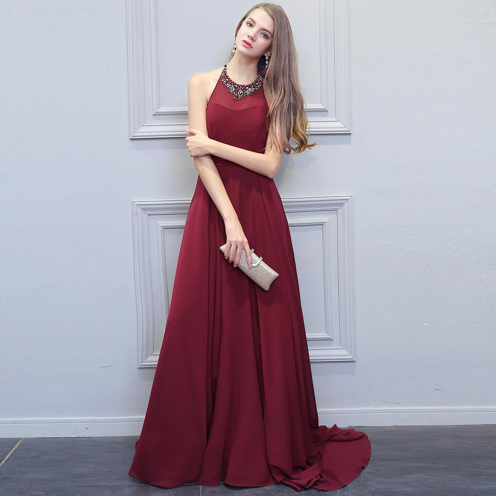 228f7a7b35997 US $84.99 15% OFF|BeryLove Fashion Burgundy Prom Dresses 2018 Long Beaded  Halter Backless Evening Dresses Formal Dress Special Occasion Gowns -in ...