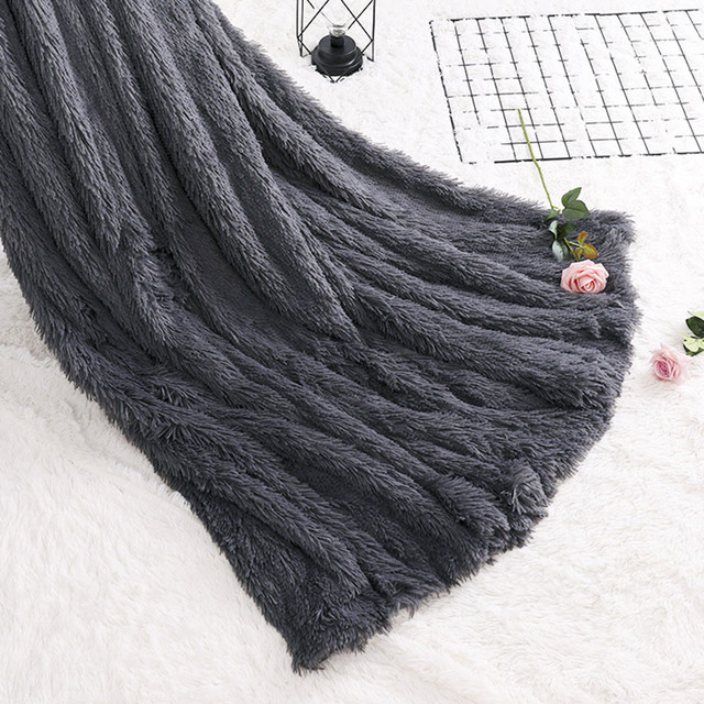 2018 New Large Soft Warm Gy Faux Fur Throw Blanket Sofa Double King Bed